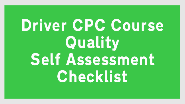 Driver CPC Course Quality Self Assessment Checklist